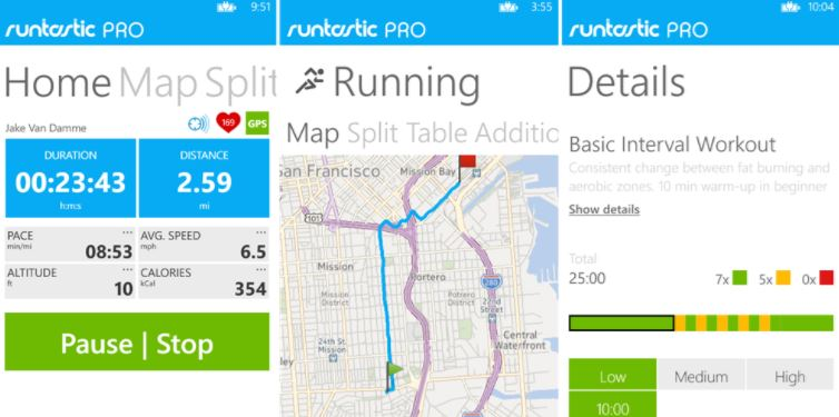 Runtastic health and fitness app