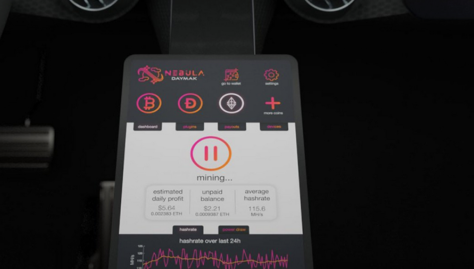 crypto interface of daymak electric mining car